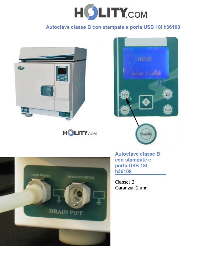 Autoclave classe B con stampate e porta USB 18l h36108