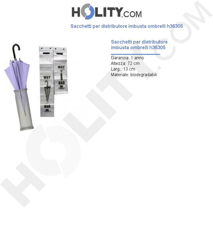 Sacchetti per distributore imbusta ombrelli h36305