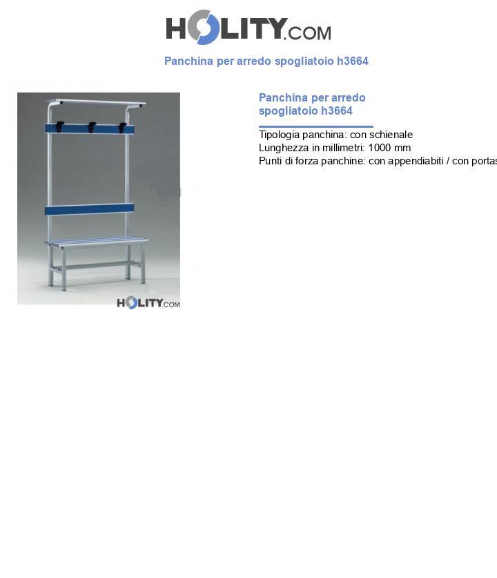 Panchina per arredo spogliatoio h3664