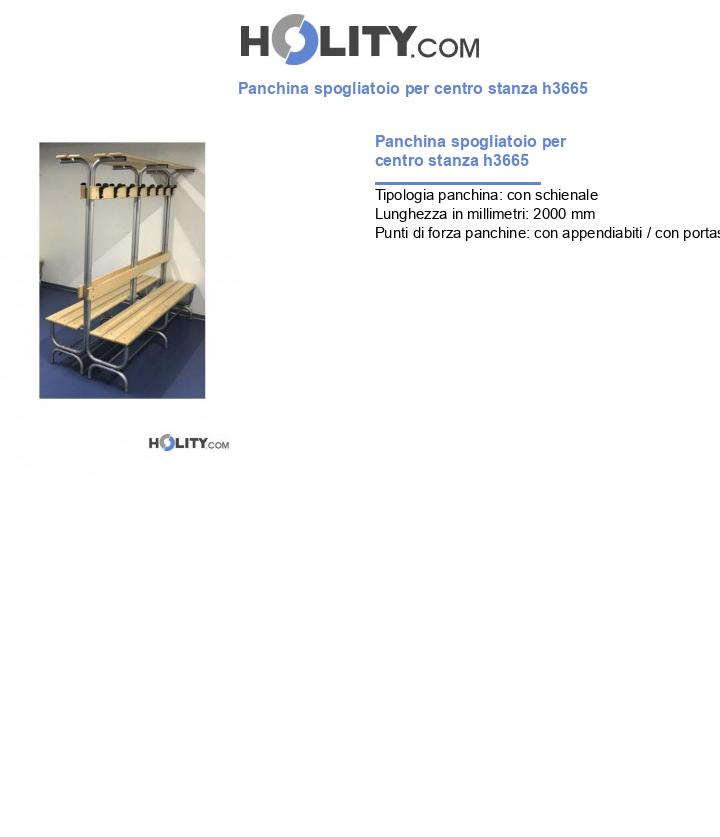 Panchina spogliatoio per centro stanza h3665