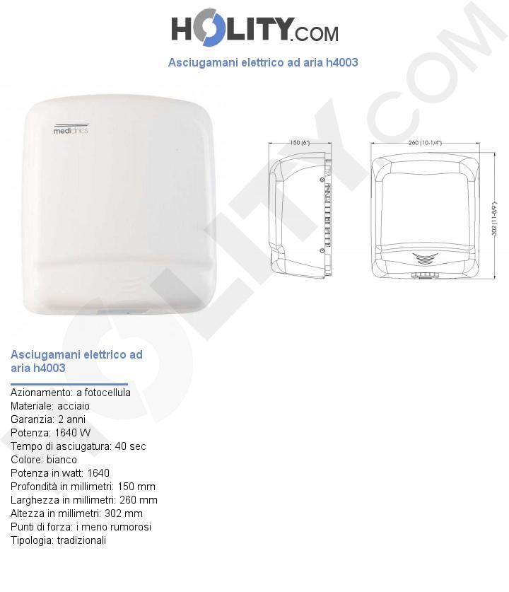 Asciugamani elettrico ad aria h4003