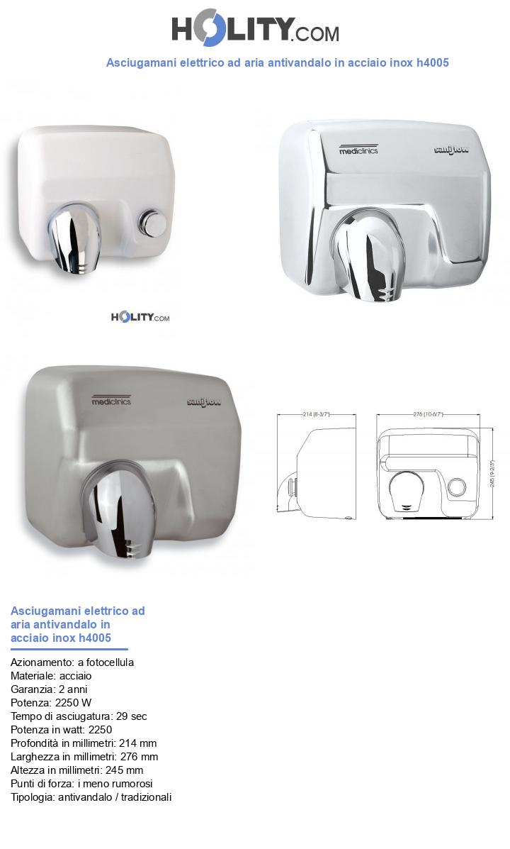 Asciugamani elettrico ad aria antivandalo in acciaio inox h4005