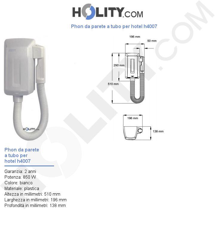 Phon da parete a tubo per hotel h4007