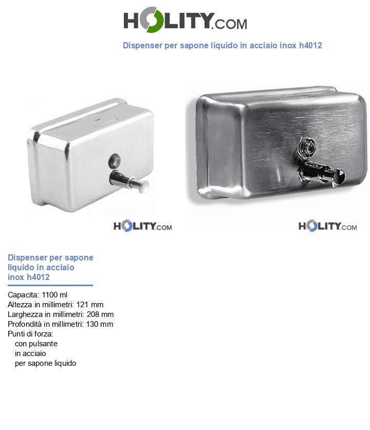 Dispenser per sapone liquido in acciaio inox h4012