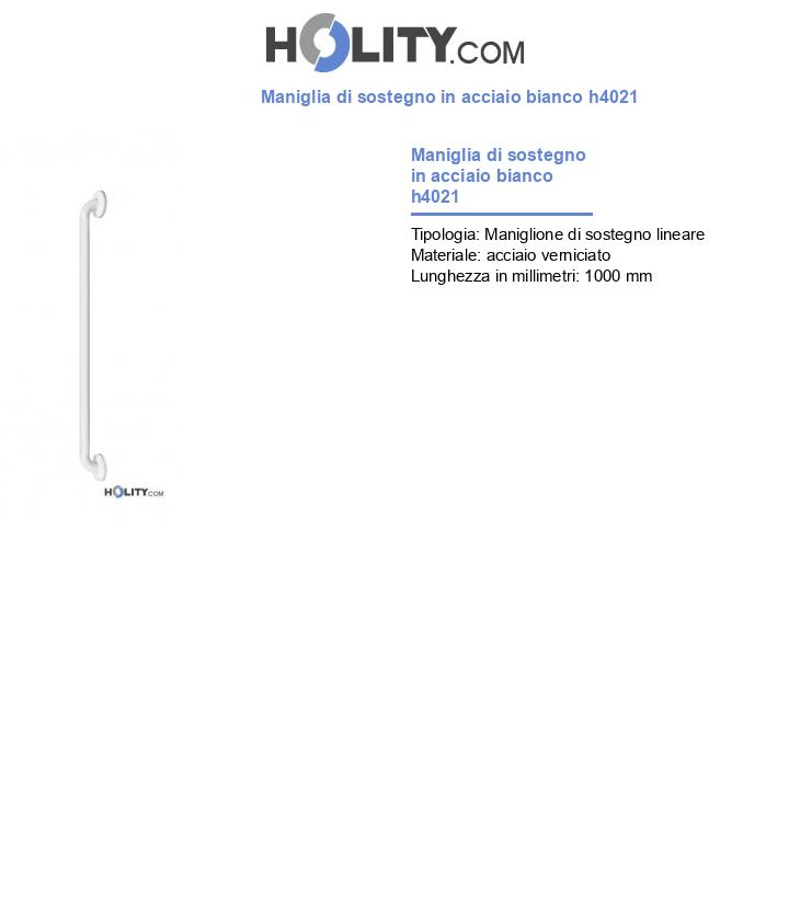 Maniglia di sostegno in acciaio bianco h4021
