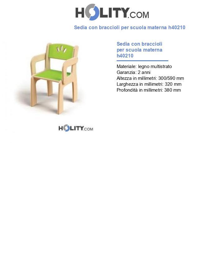 Sedia con braccioli per scuola materna h40210