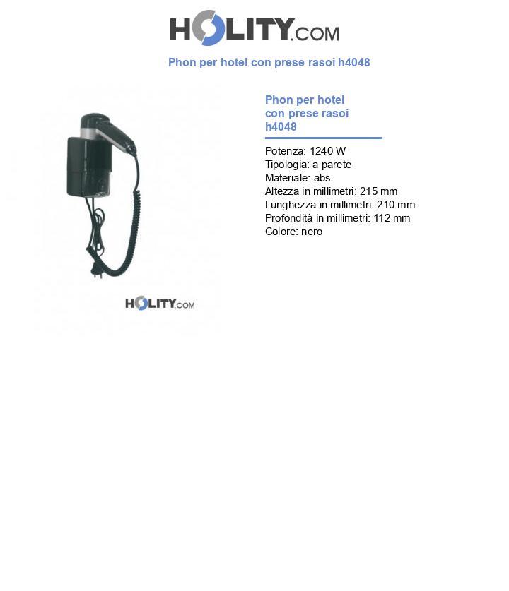 Phon per hotel con prese rasoi h4048