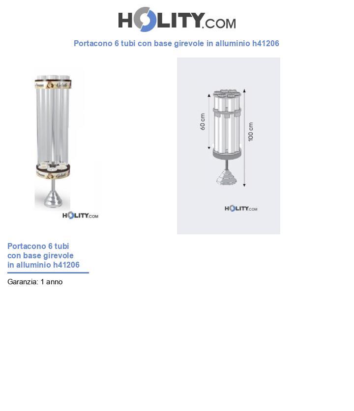 Portacono 6 tubi con base girevole in alluminio h41206
