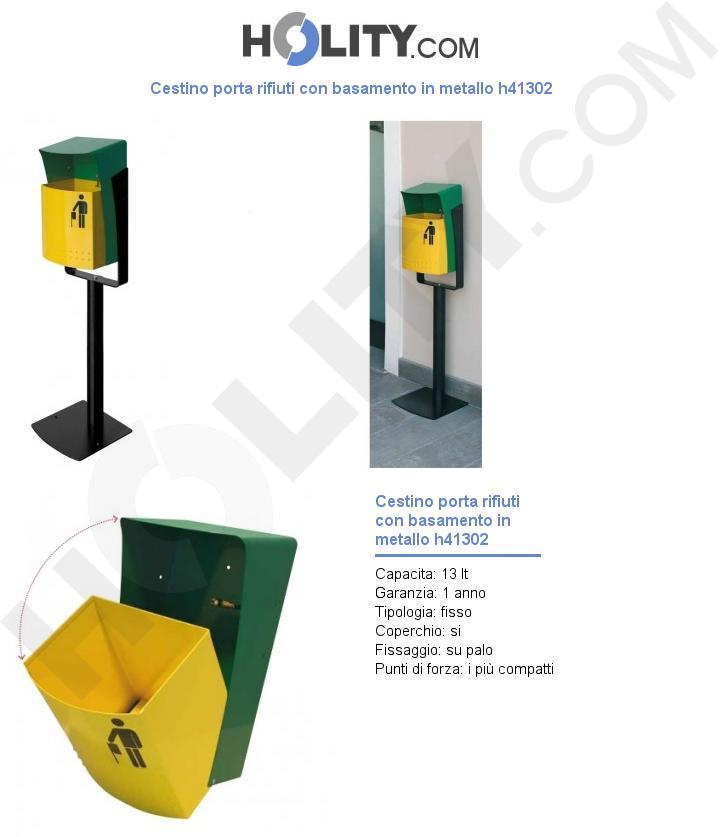 Cestino porta rifiuti con basamento in metallo h41302