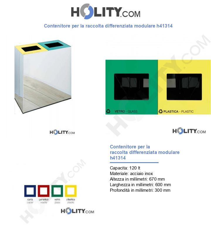 Contenitore per la raccolta differenziata modulare h41314