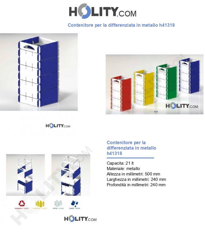 Contenitore per la differenziata in metallo h41318