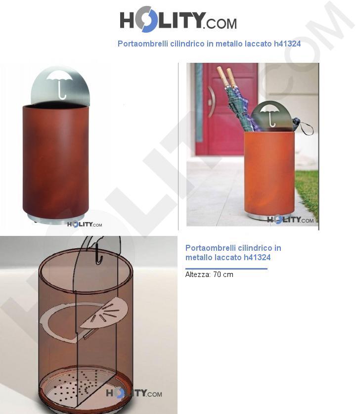 Portaombrelli cilindrico in metallo laccato h41324