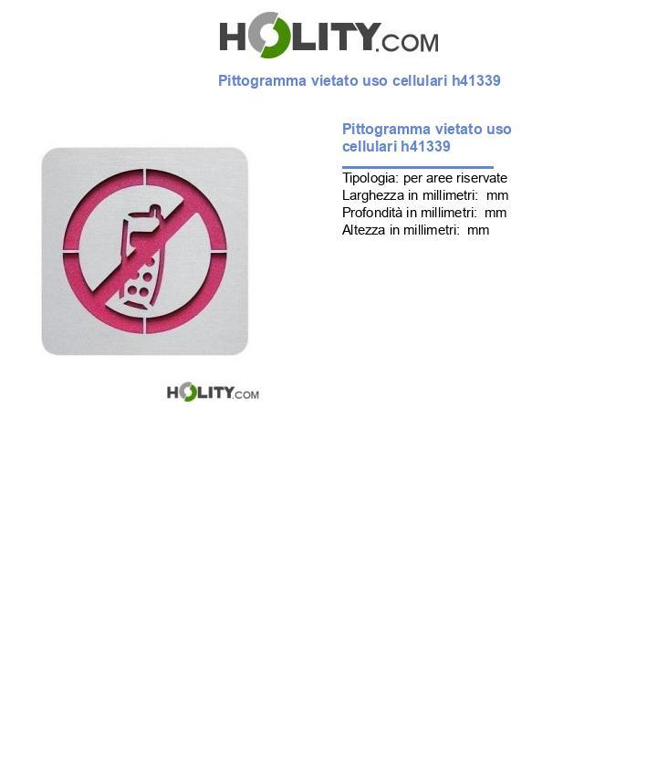 Pittogramma vietato uso cellulari h41339