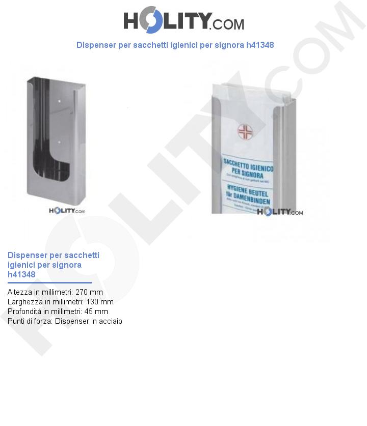 Dispenser per sacchetti igienici per signora h41348