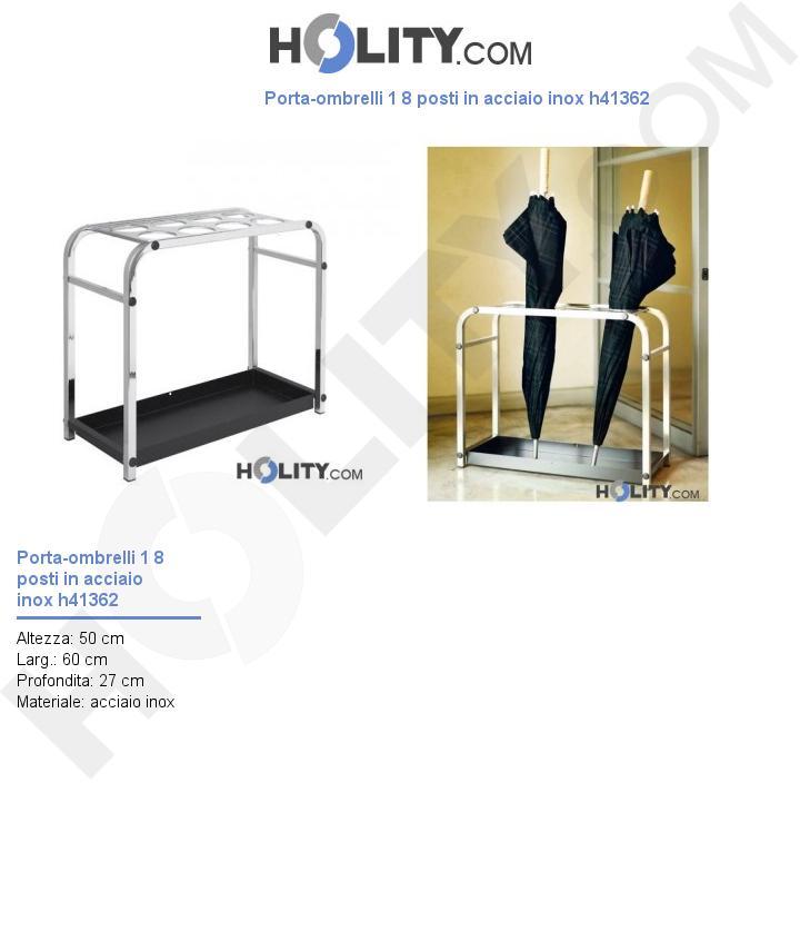 Porta-ombrelli da 8 posti in acciaio inox h41362