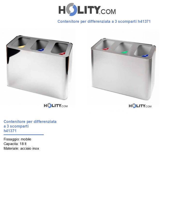 Contenitore per differenziata a 3 scomparti h41371