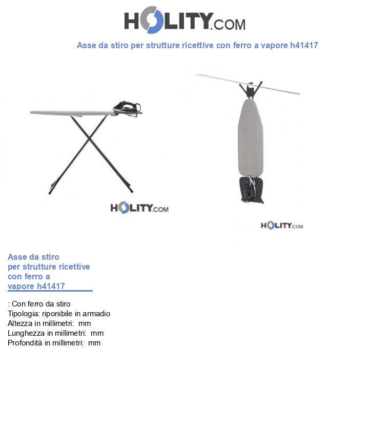 Asse da stiro per strutture ricettive con ferro a vapore h41417