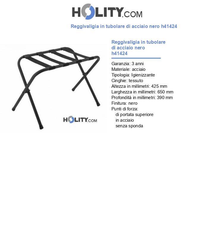 Reggivaligia in tubolare di acciaio nero h41424