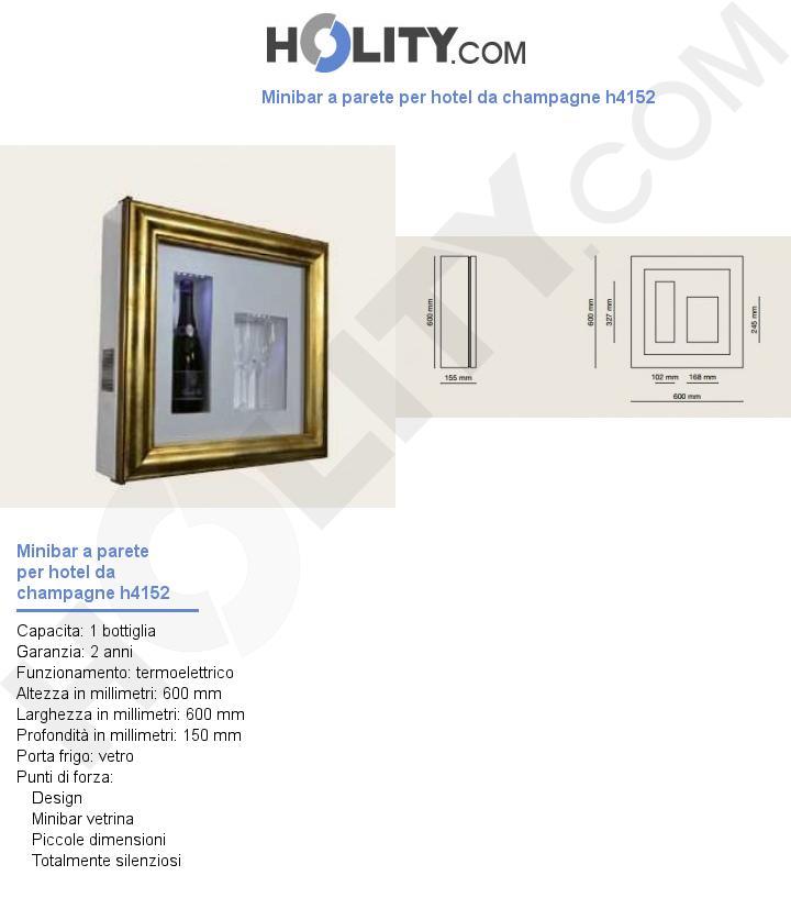 Minibar a parete per hotel da champagne h4152