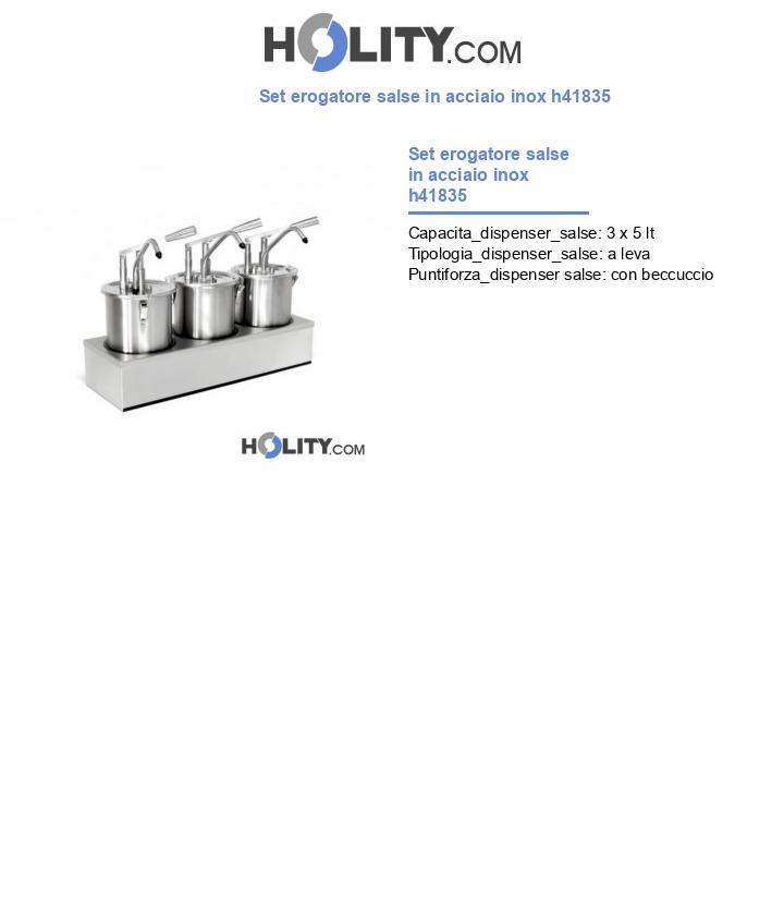Set erogatore salse in acciaio inox h41835