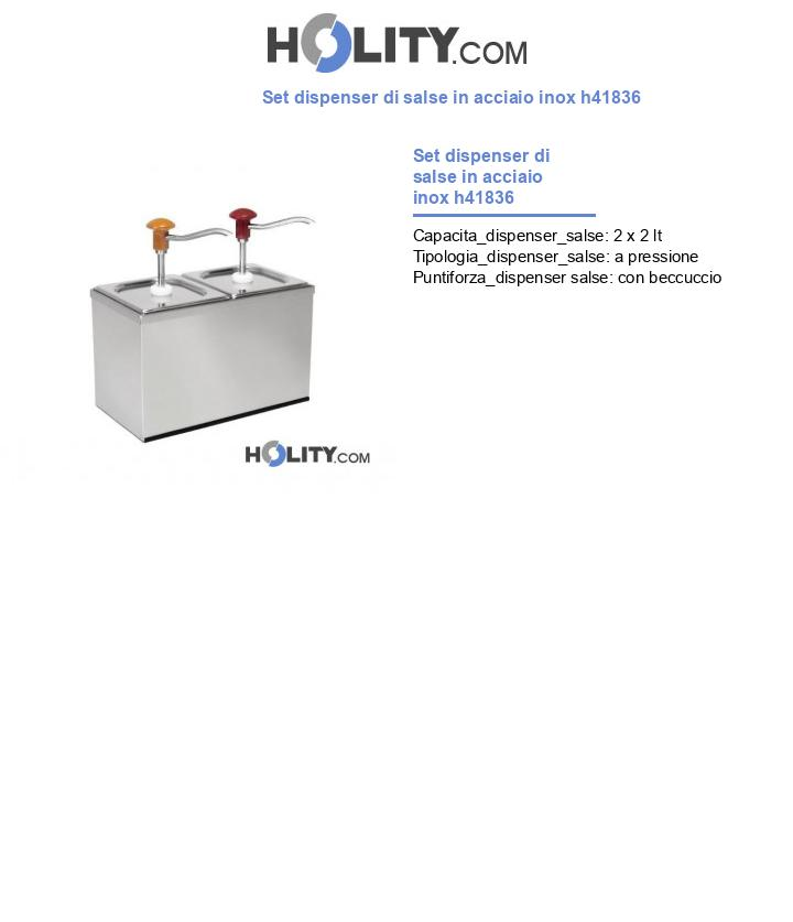 Set dispenser di salse in acciaio inox h41836