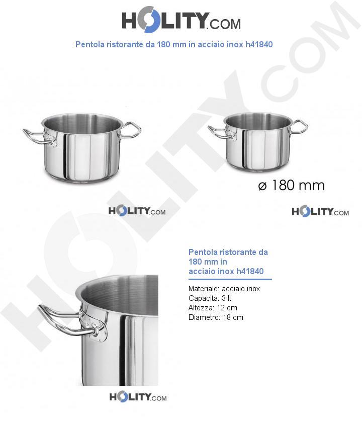 Pentola ristorante da 180 mm in acciaio inox h41840