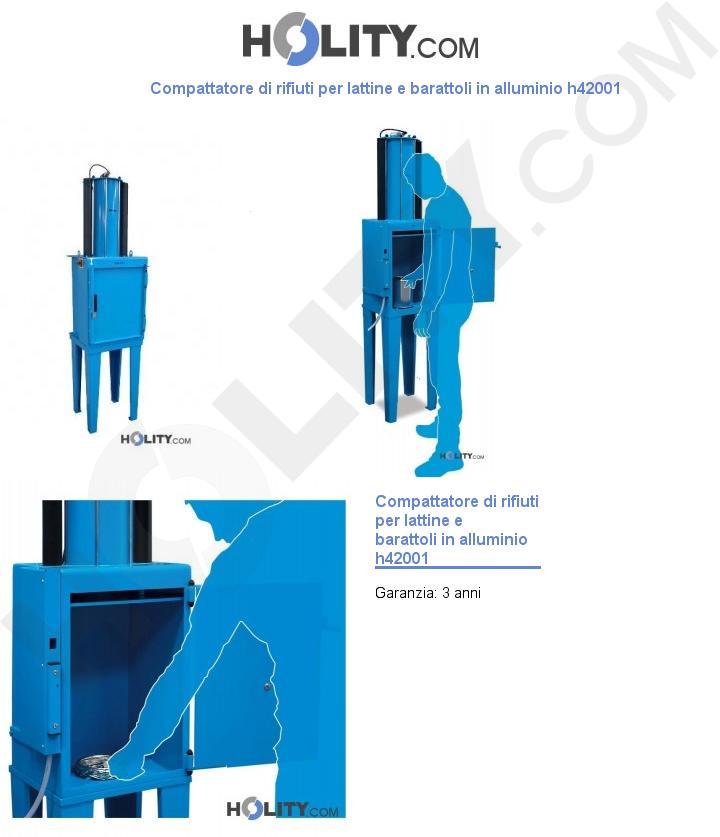 Compattatore di rifiuti per lattine e barattoli in alluminio h42001