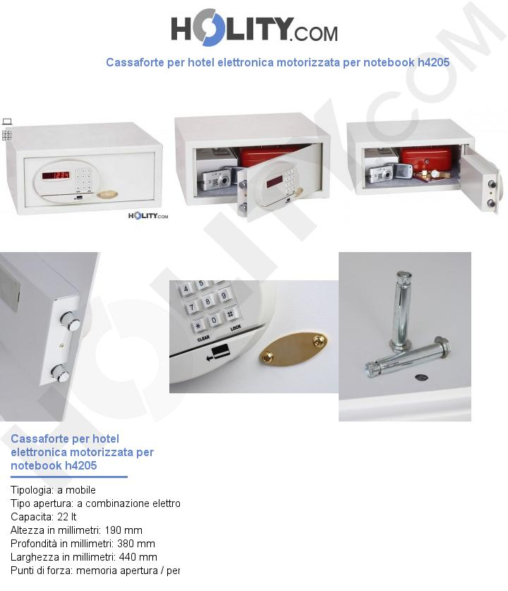 Cassaforte per hotel elettronica motorizzata per notebook h4205