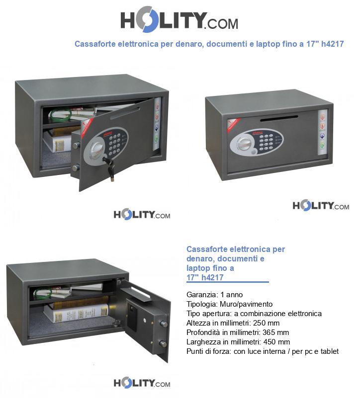 Cassaforte elettronica per denaro, documenti e laptop fino a 17
