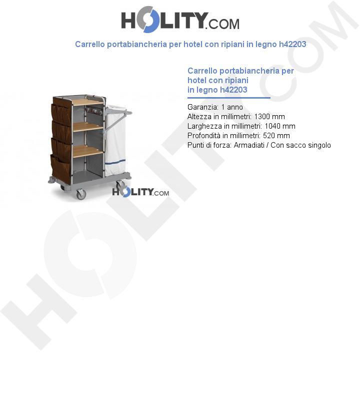 Carrello portabiancheria per hotel con ripiani in legno h42203