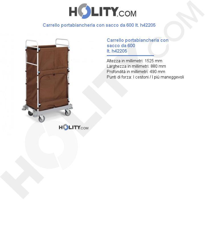 Carrello portabiancheria con sacco da 600 lt. h42205