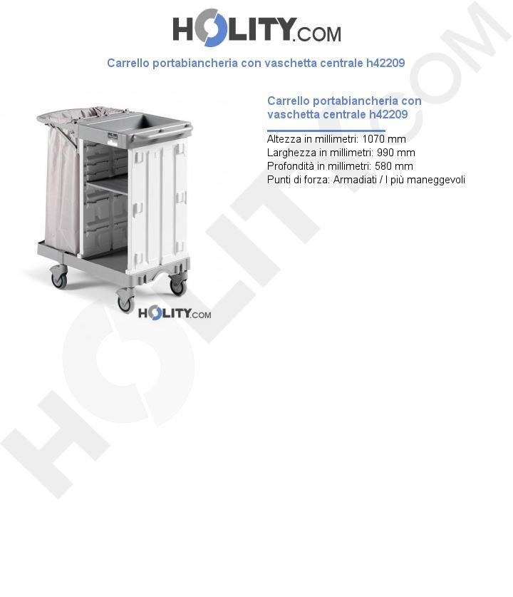 Carrello portabiancheria con vaschetta centrale h42209