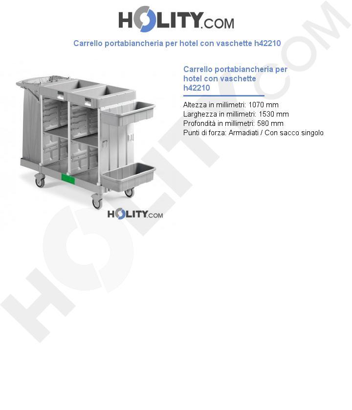 Carrello portabiancheria per hotel con vaschette h42210
