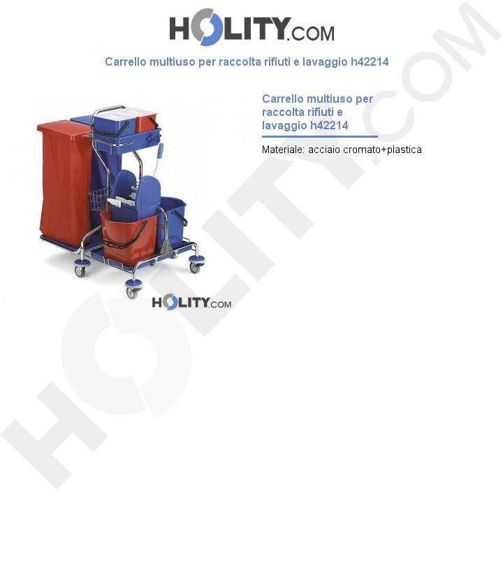 Carrello multiuso per raccolta rifiuti e lavaggio h42214