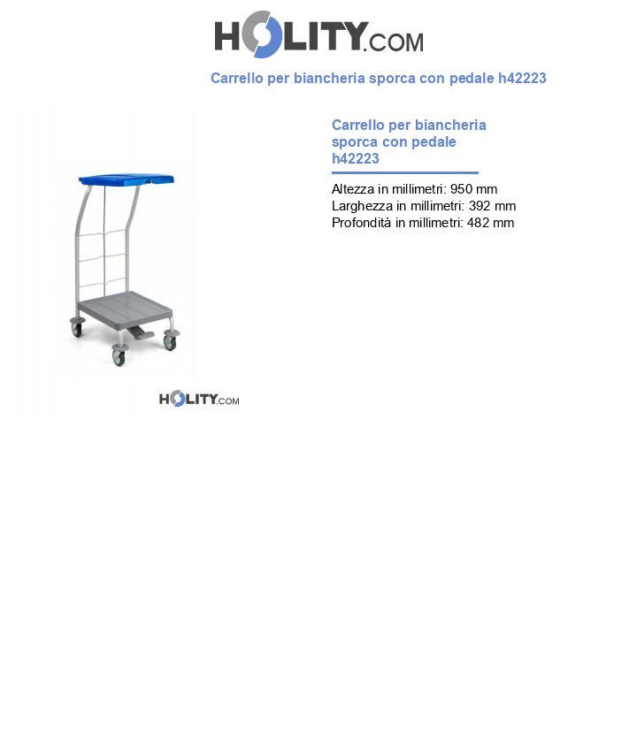 Carrello per biancheria sporca con pedale h42223