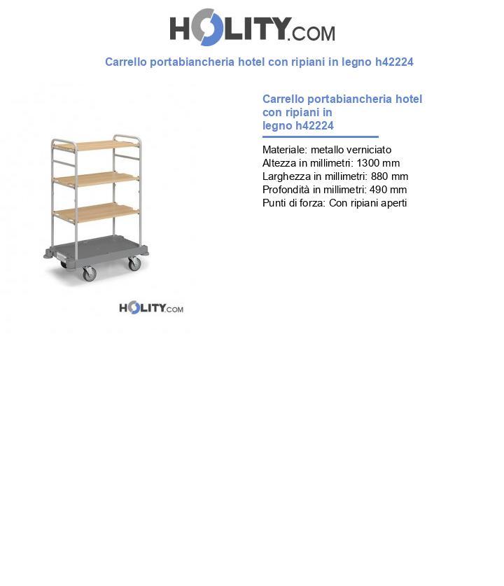 Carrello portabiancheria hotel con ripiani in legno h42224