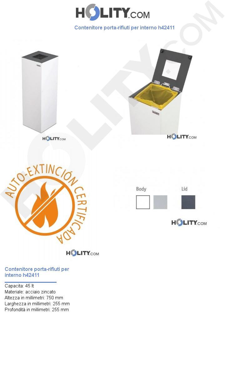 Contenitore porta-rifiuti per interno h42411