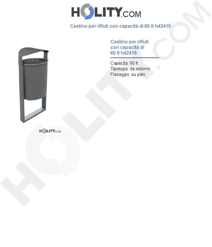 Cestino per rifiuti con capacità di 60 lt h42415