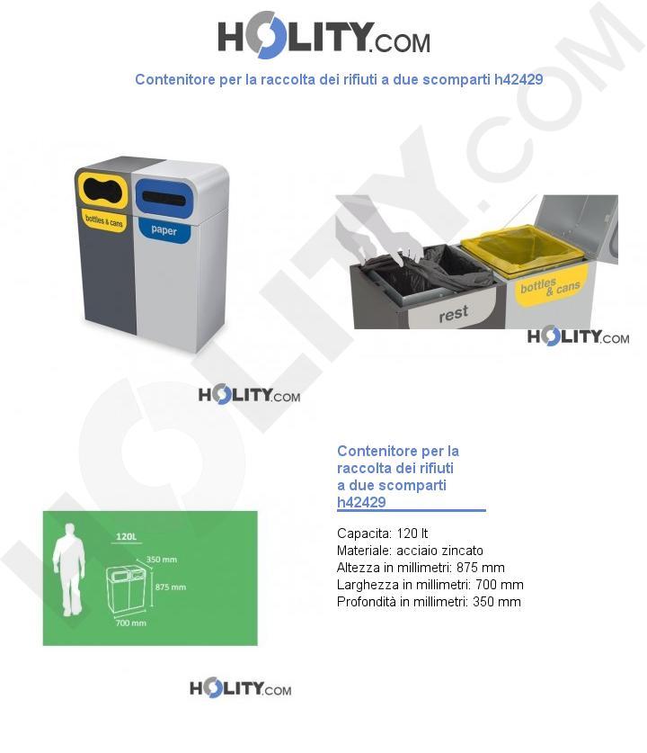 Contenitore per la raccolta dei rifiuti a due scomparti h42429