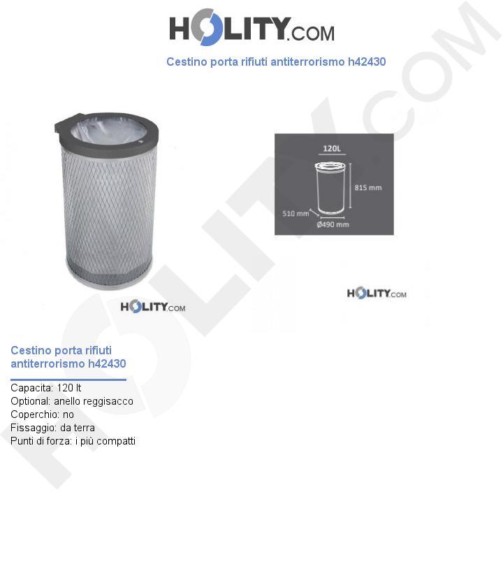 Cestino porta rifiuti antiterrorismo h42430