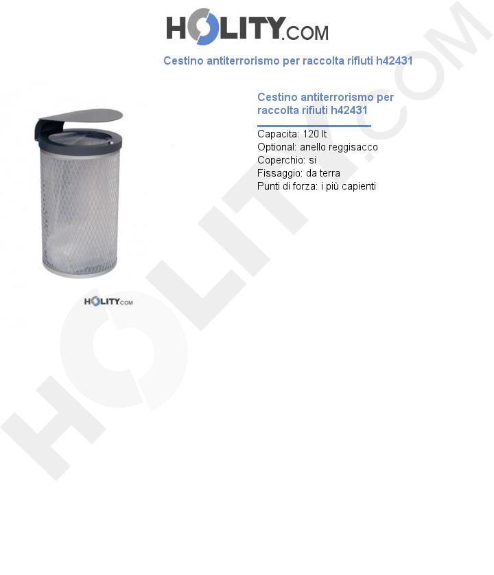 Cestino antiterrorismo per raccolta rifiuti h42431