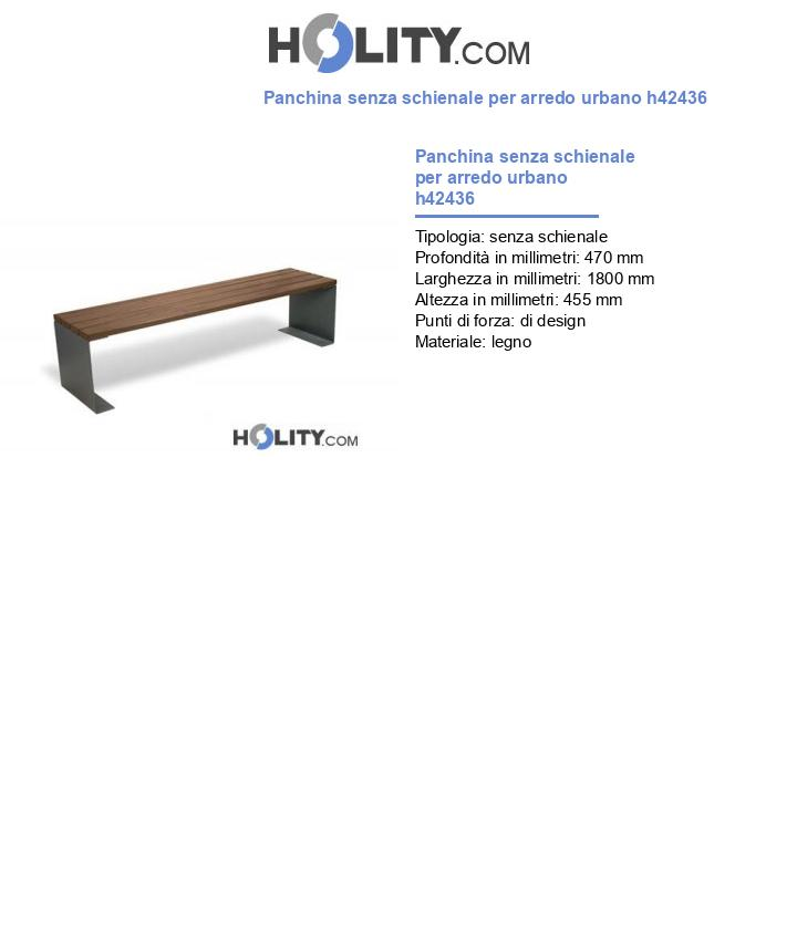 Panchina senza schienale per arredo urbano h42436