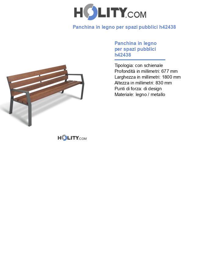 Panchina in legno per spazi pubblici h42438