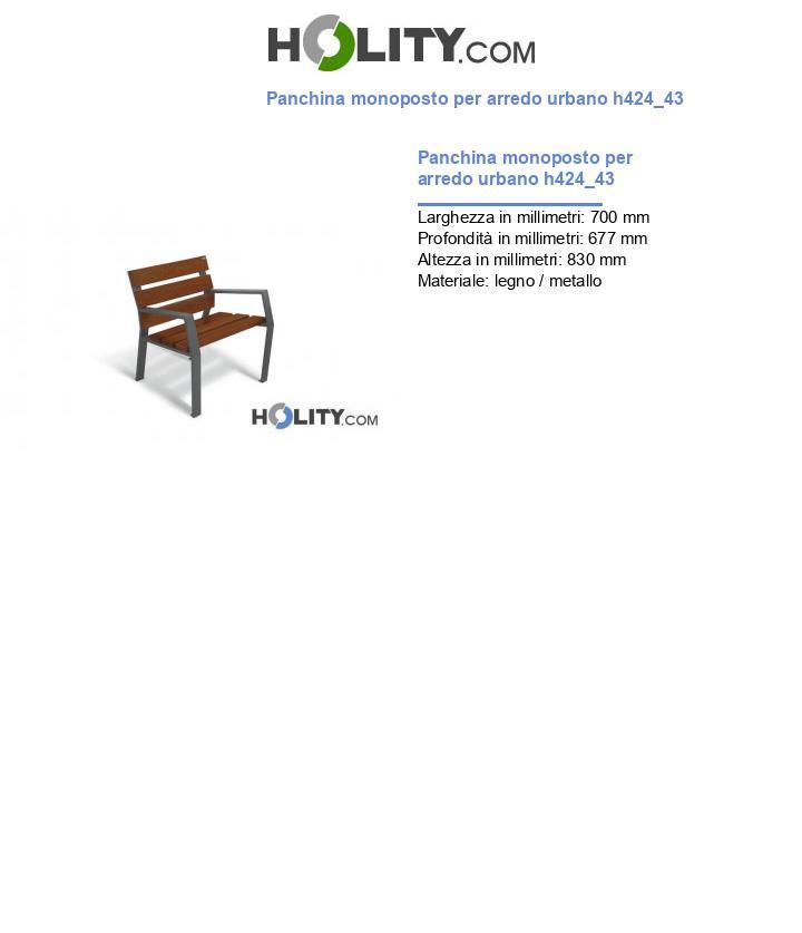 Panchina monoposto per arredo urbano h424_43