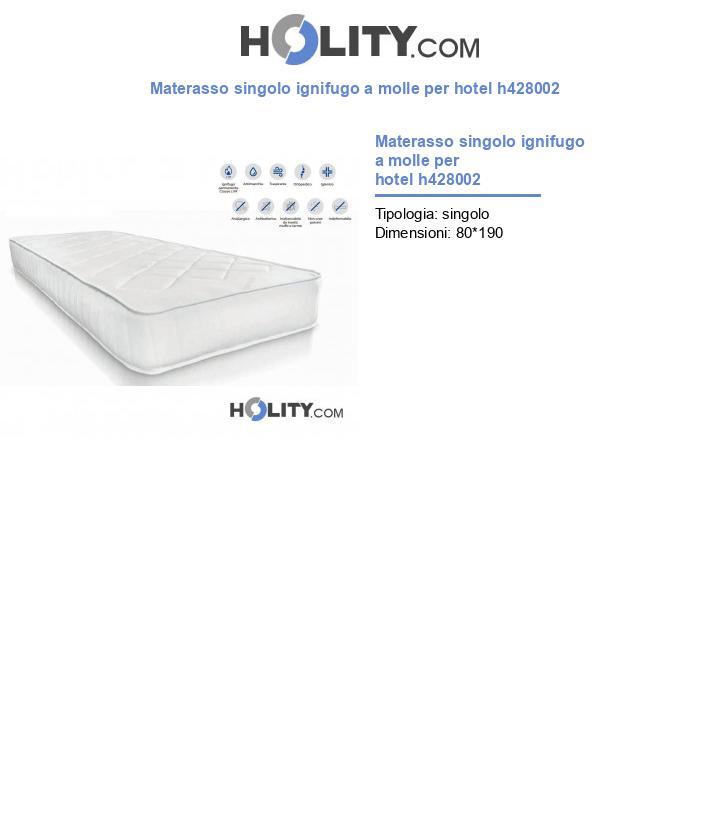 Materasso singolo ignifugo a molle per hotel h428002