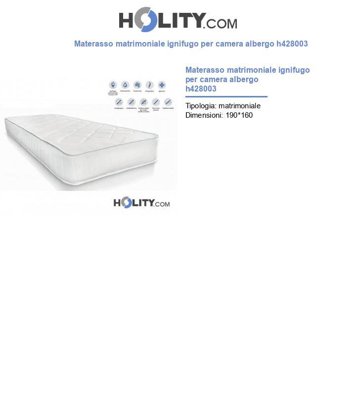 Materasso matrimoniale ignifugo per camera albergo h428003