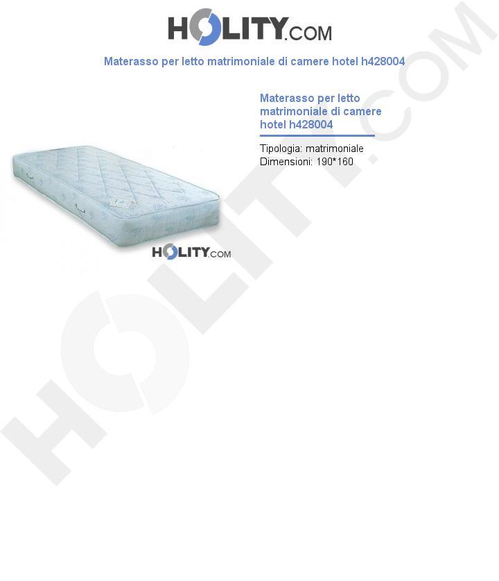 Materasso per letto matrimoniale di camere hotel h428004