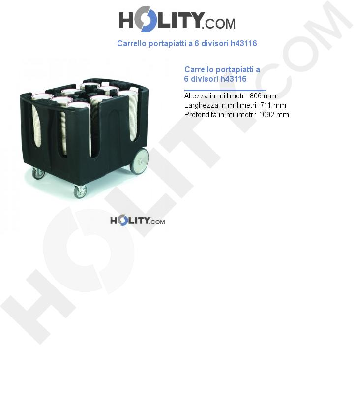 Carrello portapiatti a 6 divisori h43116