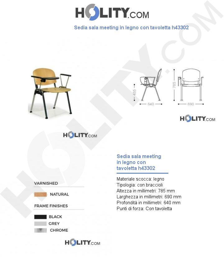 Sedia sala meeting in legno con tavoletta h43302