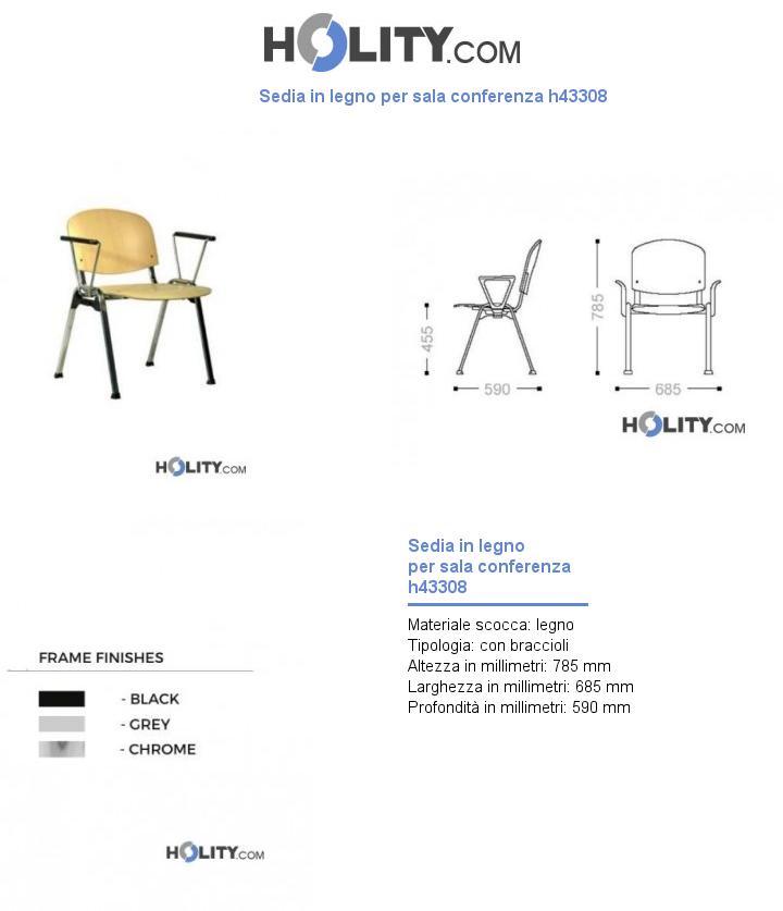 Sedia in legno per sala conferenza h43308
